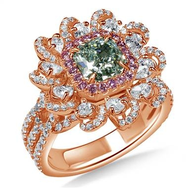 Fancy light bluish green radiant cut diamond floral ring set in 18K rose gold at B2C Jewels