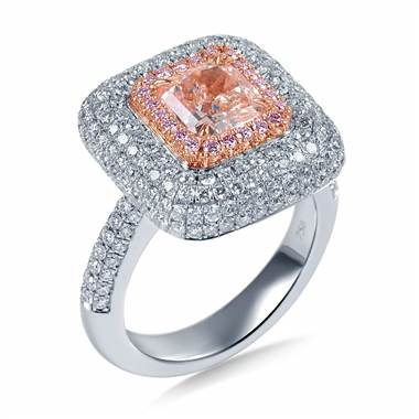 Fancy light pink diamond halo with micro pave set ring set in 18K two tone gold at B2C Jewels