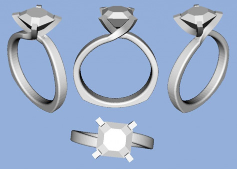 Homemade Asscher Cut Diamond Engagement Ring CAD rendering