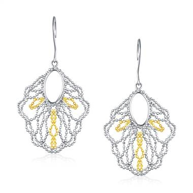 Wear: Beaded dangle earrings set in 14K yellow gold and sterling silver at B2C Jewels