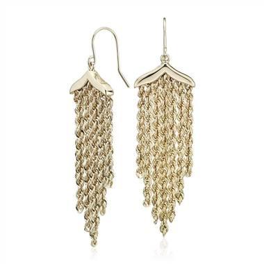 Wear: Fringe rope chandelier drop earrings set in 14K yellow gold at Blue Nile