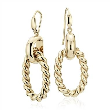 Wear: Large link braided drop earrings set in 14K yellow gold at Blue Nile