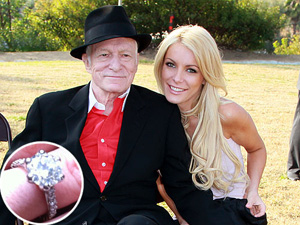 Hugh Hefner and Crystal Harris engagement ring