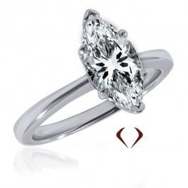 Marquise diamond solitaire ring set in 14K white gold at I.D. Jewelry