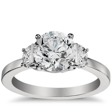 Half moon diamond engagement ring set in platinum at Blue Nile