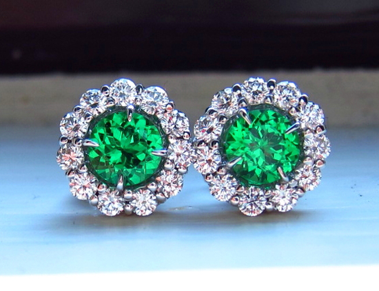 Tsavorite Garnet Studs with ID Jewelry Diamond Earring Jackets