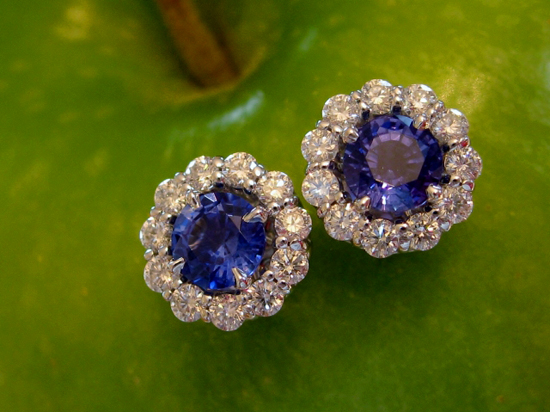 Sapphire Studs with ID Jewelry Diamond Earring Jackets