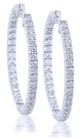I.D. Jewelry Diamond Hoop Earrings