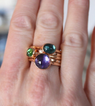 tourmaline and diamond stackable rings