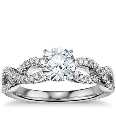 Infinity Twist Micropav Diamond Engagement Ring in 14K White Gold