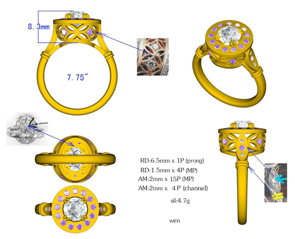 Initial CAD Rendering for Diamond and Purple Sapphire Ring
