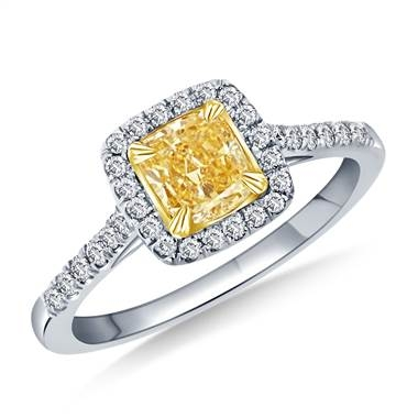 Fancy yellow cushion cut halo ring set in 14K two-tone gold at B2C Jewels