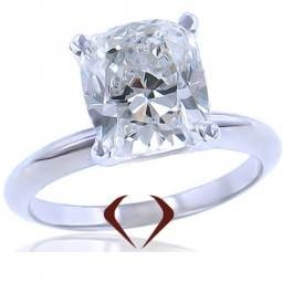 Cushion diamond solitaire ring set in 14K white gold at I.D. Jewelry