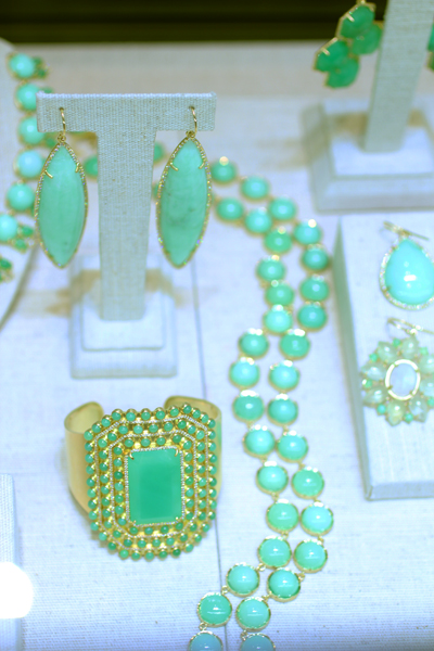 Irene Neuwirth chrysoprase necklace, earrings, and bracelet