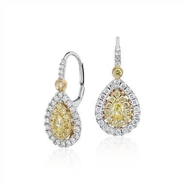 Pair with: Pear-shaped yellow diamond double halo drop earrings set in 18K white and yellow gold at Blue Nile