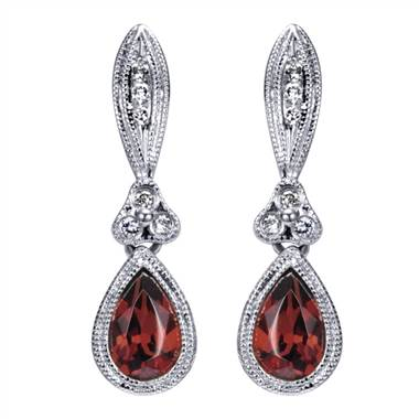 White gold Victorian garnet earrings at I.D.Jewelry