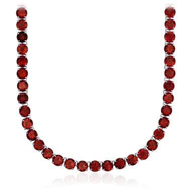 ChampRound garnet necklace in sterling silver at Blue Nile