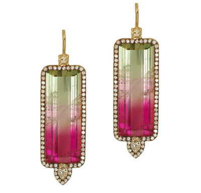 Jemma Wynne watermelon tourmaline diamond earrings