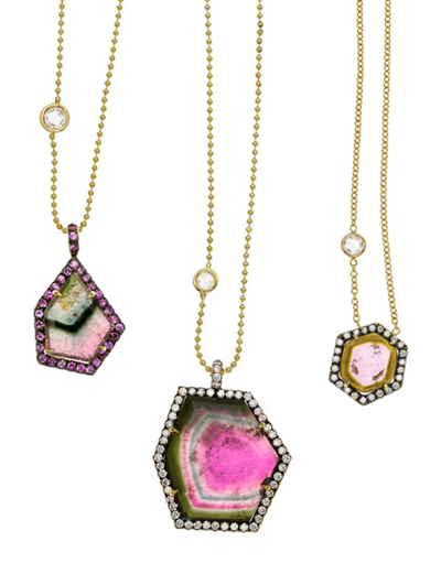 Jemma Wynne watermelon tourmaline diamond pendants