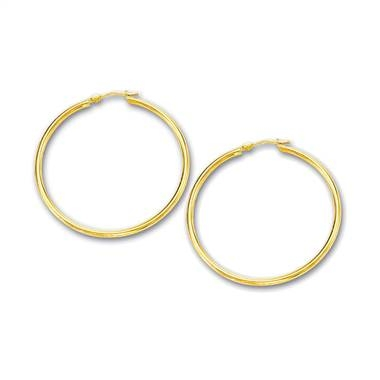 Yellow gold hoop earrings set in 14K yellow gold at B2C Jewels