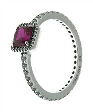 Timeless elegance ring, synthetic ruby and clear CZ at Pandora
