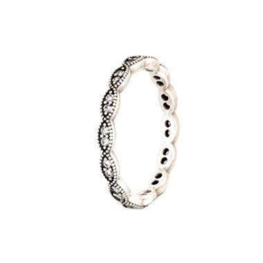 Sterling silver sparkling leaves stackable ring with clear cubic zirconia at Pandora