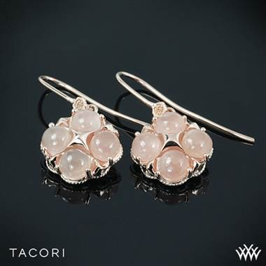 Moon rose quad dangle earrings set in 18K rose gold at Whiteflash