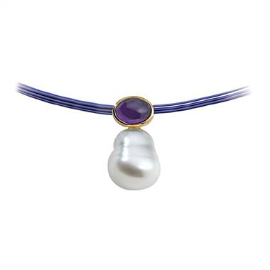 South Sea cultured circle pearl and genuine amethyst pendant set in 14K yellow gold at B2C Jewels