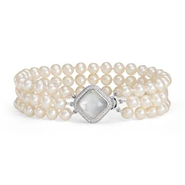 Triple strand baroque freshwater cultured pearl and mother of pearl bracelet set in sterling silver at Blue Nile