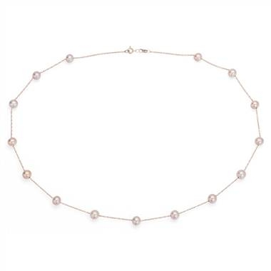 Pink freshwater cultured pearl tin cup stationed necklace set in 14K rose gold at Blue Nile