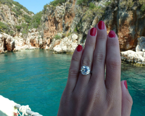 Poppy, an antique cushion-cut diamond, on the Mediterranean