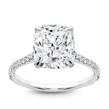 Studio cushion cut petite French pave crown diamond engagement ring set in platinum at Blue Nile