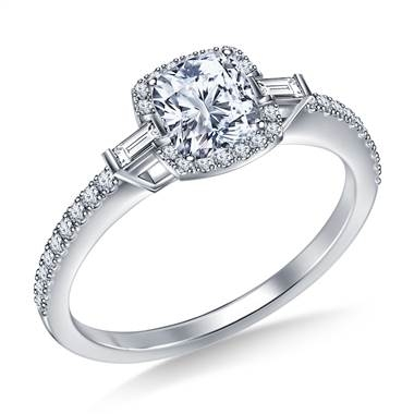 Petite cushion halo side fancy cut diamond engagement ring set in platinum at B2C Jewels