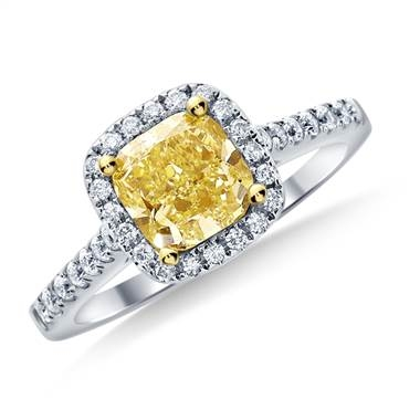 Fancy light yellow canary cushion cut diamond halo ring set in 14K white gold at B2C Jewels