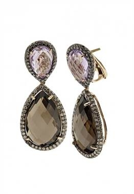 Follow her style: Rose gold amethyst, smokey quartz and diamond earrings set in 14K rose gold at EFFY