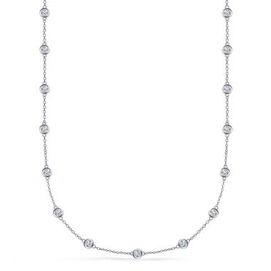 Bezel set diamond station necklace in 18K white gold at B2C Jewels