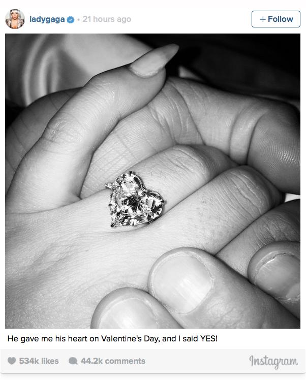 Lady Gaga's heart-shaped diamond engagement ring - @ladygaga