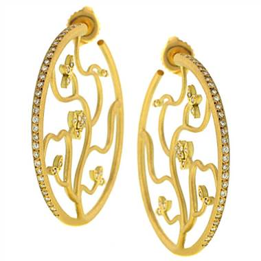 Lauren K E617Y Pave Diamond Floral Hudson Hoop Earrings