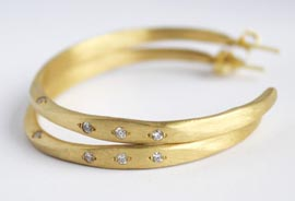 Recycled Gold Diamond hoop earrings by Lauren Ramirez