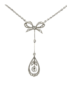 Lawrence Jeffrey Estate Jewelers Edwardian Bow Diamond Pendant