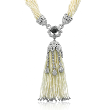 Seed Pearl Black Diamond Necklace Leone Collection