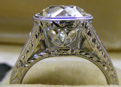 Profile shot Old European cut diamond ring