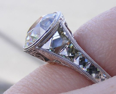 Old European Cut Diamond Ring side shot