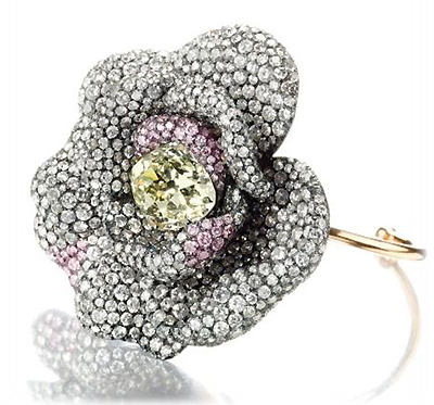 Camellia flower bracelet with pink diamonds by JAR
