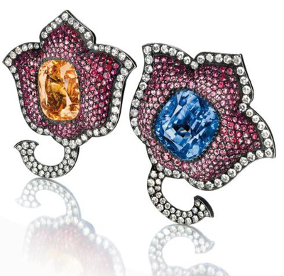 A pair of sapphire, ruby, and diamond Moghul tulip ear clips by JAR