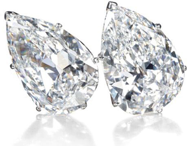 19.43 and 19.16 carat pear-shaped diamond ear clips owned by Mrs. Lily Safra