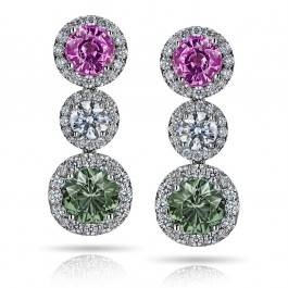 Green and pink sapphire earrings at I.D. Jewelry