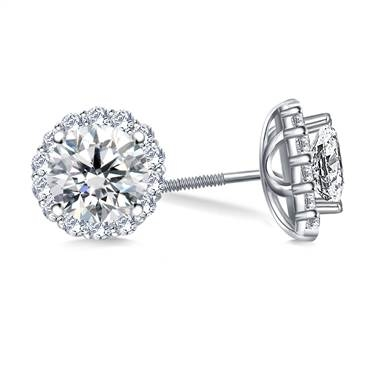 Halo round diamond stud earring set in platinum at B2C Jewels