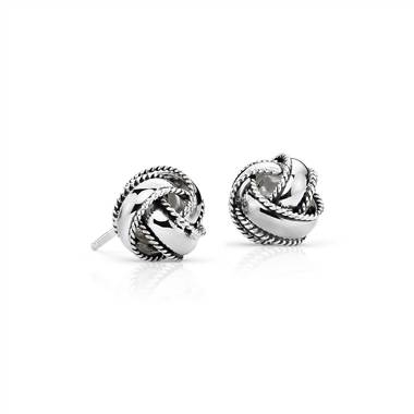 Roped love knot earrings set in sterling silver at Blue Nile