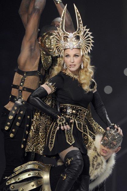 Madonna in Bulgari Earrings at the Super Bowl XLVI halftime show